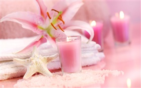 Pink style, candles, starfish, orchid, towel, SPA still life HD wallpaper