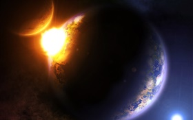 Planet collision, space disaster HD wallpaper