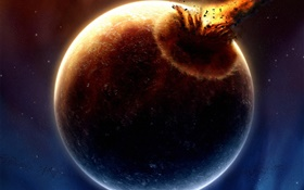 Planetary collision, disaster HD wallpaper