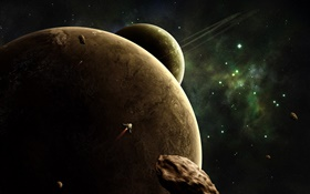 Planets, universe, spaceship HD wallpaper