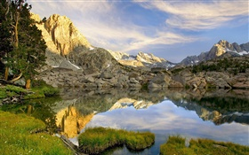 Pond, rocks, mountains, reflection HD wallpaper