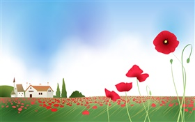 Poppies, house, spring, vector pictures HD wallpaper