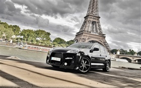 Porsche Cayenne black car, Eiffel Tower HD wallpaper