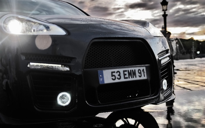 Porsche Cayenne black car front close-up Wallpapers Pictures Photos Images