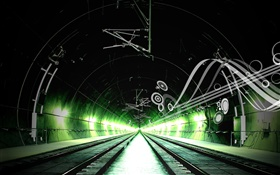 Railway, channel, green light, creative design HD wallpaper
