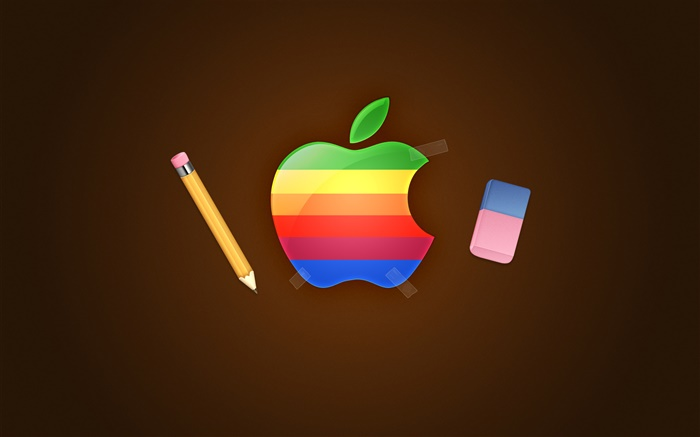 Rainbow Apple logo, pencil, eraser Wallpapers Pictures Photos Images