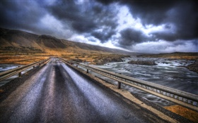 Rainy day, bridge, road, river, mountains, clouds HD wallpaper