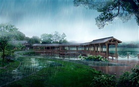 Rainy day, park, covered bridge, trees, lake, path, 3D design HD wallpaper
