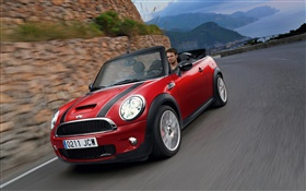 Red MINI car speed, front view