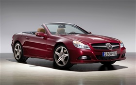 Red Mercedes-Benz convertible car HD wallpaper