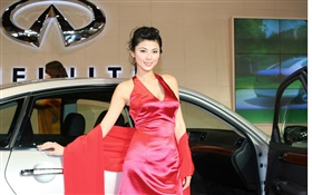 Red dress Chinese girl with car HD wallpaper