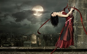 Red dress fantasy girl, happy, smile, pose, moon HD wallpaper