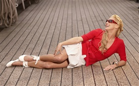 Red dress girl lying on ground HD wallpaper