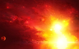 Red light in space, supernova HD wallpaper