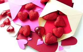 Red love hearts, letter, romantic HD wallpaper