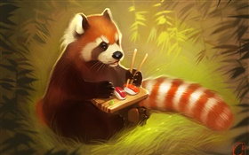 Red panda eating food, sushi, bear, creative painting HD wallpaper