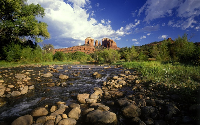 Red rock crossing, stones, river, grass, Sedona, Arizona, USA Wallpapers Pictures Photos Images