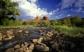 Red rock crossing, stones, river, grass, Sedona, Arizona, USA HD wallpaper