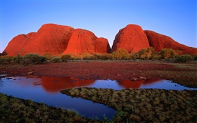 Red rock mountain, water, grass, dusk, Australia HD wallpaper