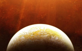 Red space, stars, yellow planet HD wallpaper