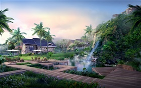Resort, waterfall, palm trees, house, tropical, 3D design HD wallpaper