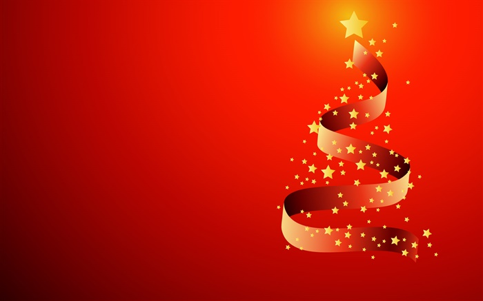 Ribbon, stars, Christmas tree, vector Wallpapers Pictures Photos Images
