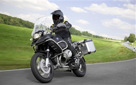 Riding BMW R1200 GS black motorcycle HD wallpaper