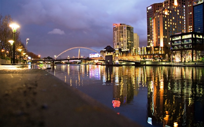 River, houses, bridge, lamps, night, city Wallpapers Pictures Photos Images