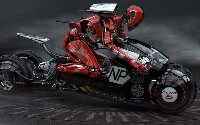 Robot drive the motorcycle, high tech Wallpapers Pictures Photos Images