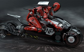 Robot drive the motorcycle, high tech HD wallpaper