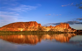 Rock mountains, lake, water reflection, Australia HD wallpaper