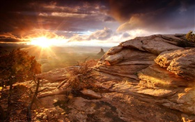 Rocks, mountains, clouds, sunset, sun rays