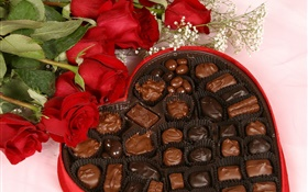 Romantic gift, rose and chocolate HD wallpaper