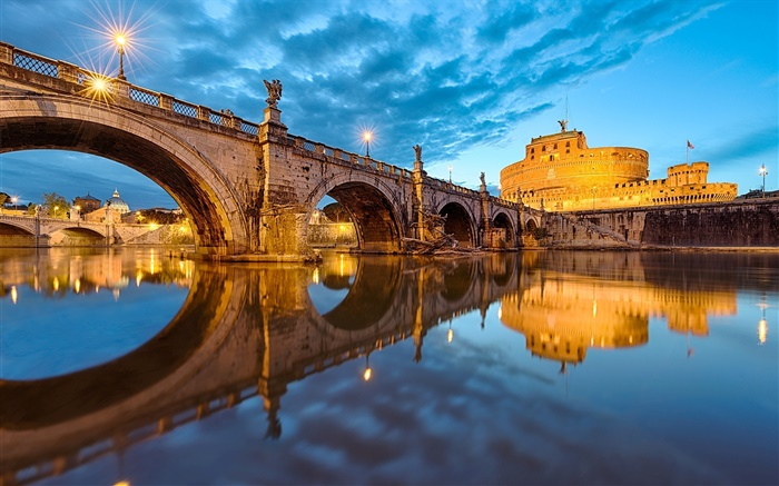 Rome, Italy, Vatican, bridge, river, evening Wallpapers Pictures Photos Images