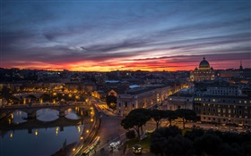 Rome, Italy, Vatican, evening, sunset, houses, river, bridges HD wallpaper