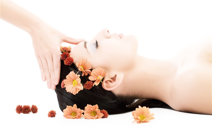 SPA close-up, girl, flowers, hair, massage Wallpapers Pictures Photos Images