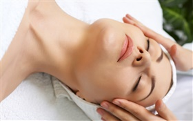SPA, girl, sleep, facial massage
