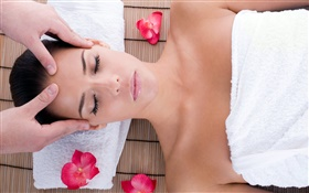 SPA massage, girl, red flowers HD wallpaper