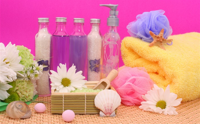 SPA still life, chrysanthemum, bottles, bath ball, towel Wallpapers Pictures Photos Images