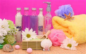 SPA still life, chrysanthemum, bottles, bath ball, towel HD wallpaper