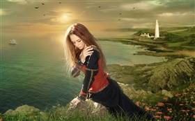 Sadness fantasy girl sit at seaside HD wallpaper