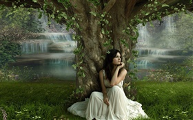Sadness fantasy girl under the tree HD wallpaper