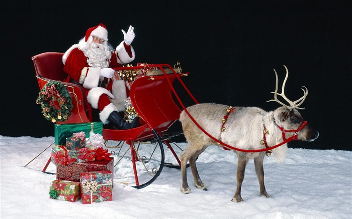 Santa, deer, sleigh, presents, Christmas theme Wallpapers Pictures Photos Images