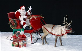 Santa, deer, sleigh, presents, Christmas theme HD wallpaper