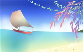 Sea, beach, boat, twigs, spring, vector design HD wallpaper