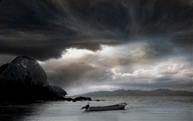 Sea, boat, clouds HD wallpaper