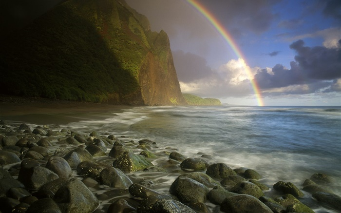 Sea, coast, stones, rainbow, clouds Wallpapers Pictures Photos Images