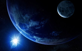 See the Earth in space, moon, sun, light HD wallpaper