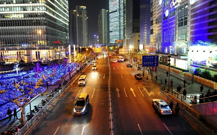Shanghai, street, lights, night, city, China Wallpapers Pictures Photos Images