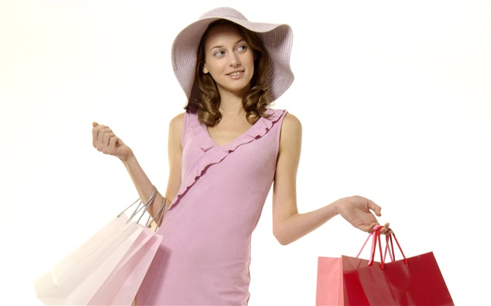 Shopping girl, pink dress Wallpapers Pictures Photos Images